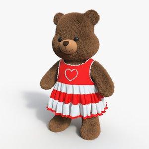 3D bear toy brown 09 model