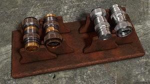 3D microscope objective vintage shiny model