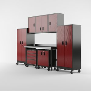3D garage furniture set model