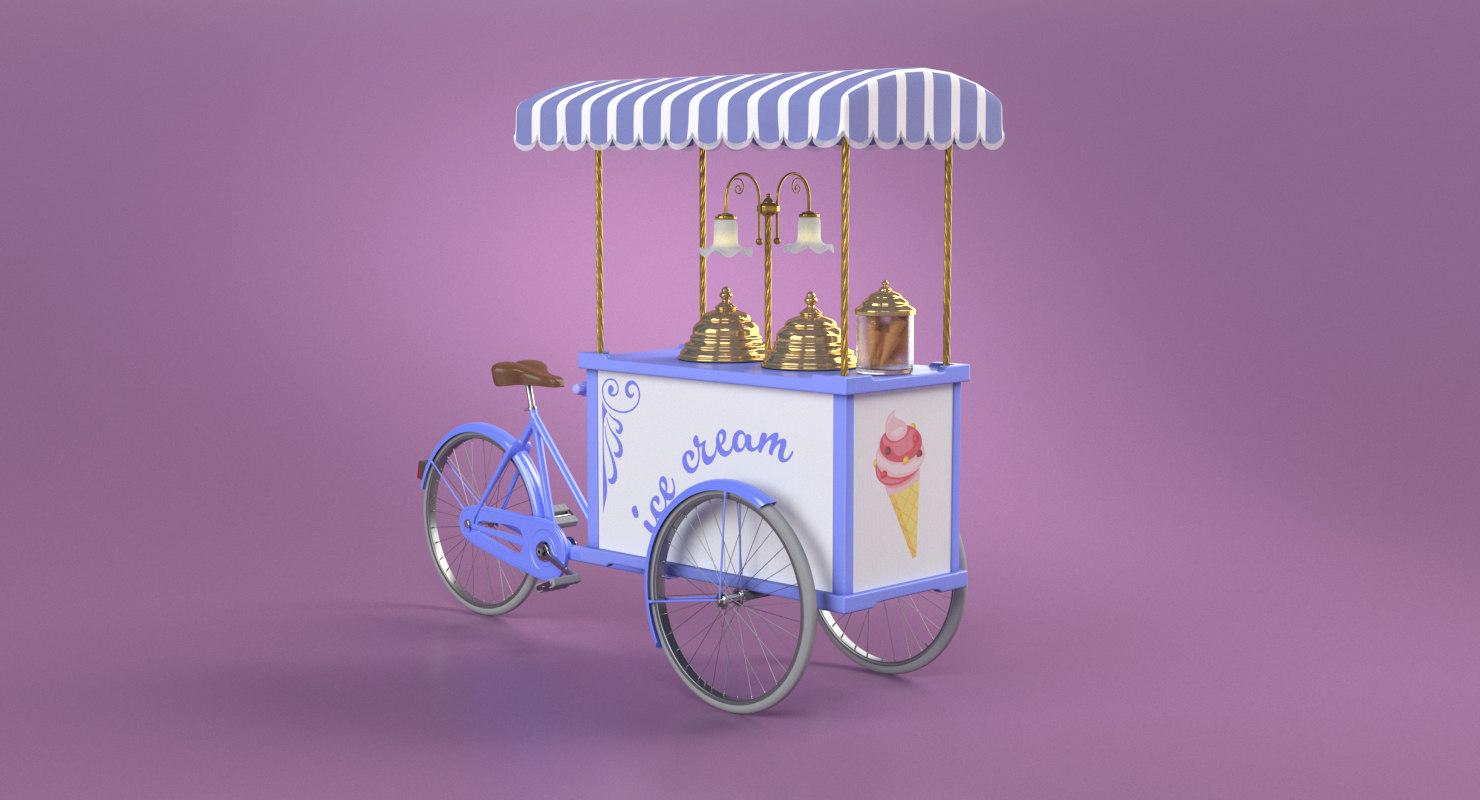 3D model ice cream mobile handcart