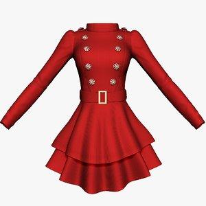 3D long sleeve womens dress model