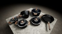 pots pans set 3D model