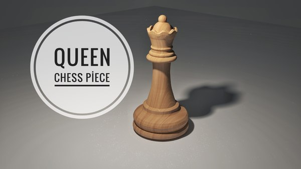 3D chess queen piece model
