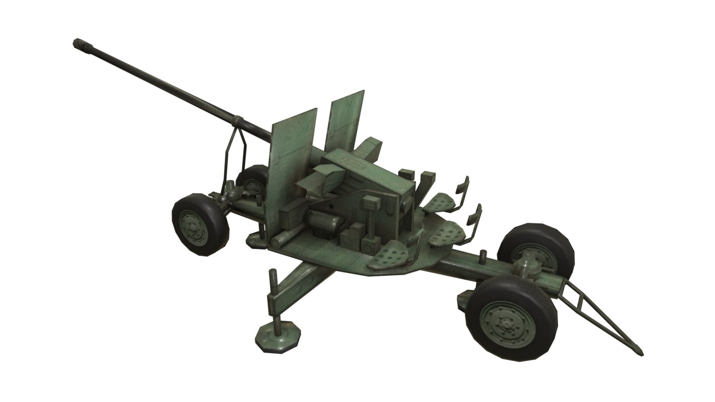 3D azp s60 altillery military vehicle model