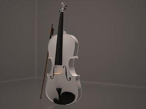 realistic white violin model