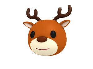 deer head cartoon 3D model