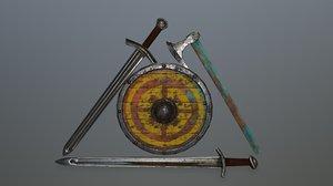 shield sword 3D model