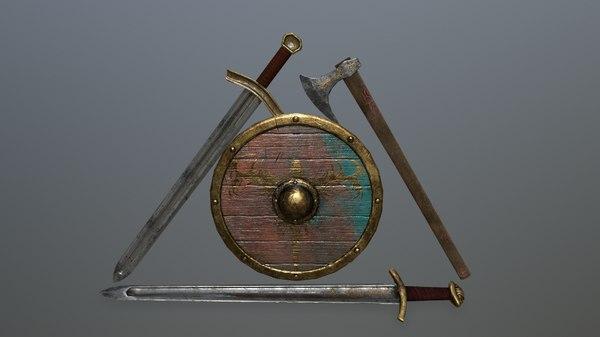 3D shield sword model