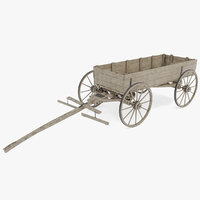 wooden wagon old 3D model