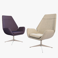 hbf conexus upholstered lounge chair 3D model