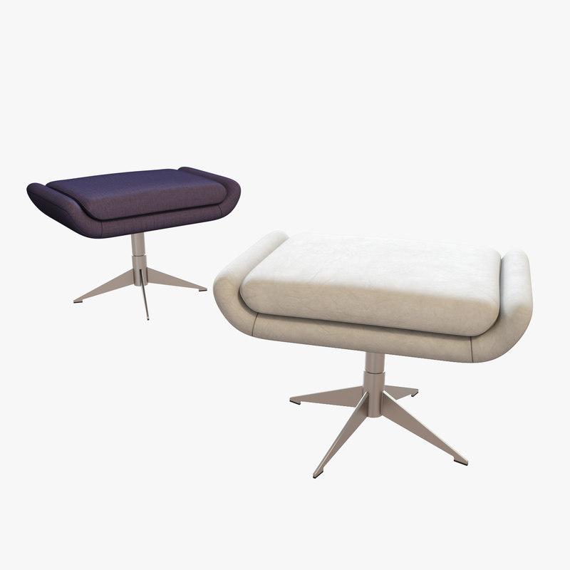 3D hbf conexus upholstered ottoman model