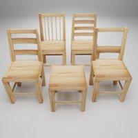 3D wood chair wooden