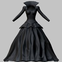 3D victorian gothic dress model