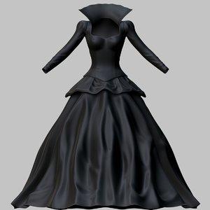 3D victorian gothic dress model