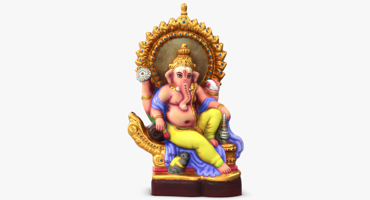 ganesha colored statue 3D model