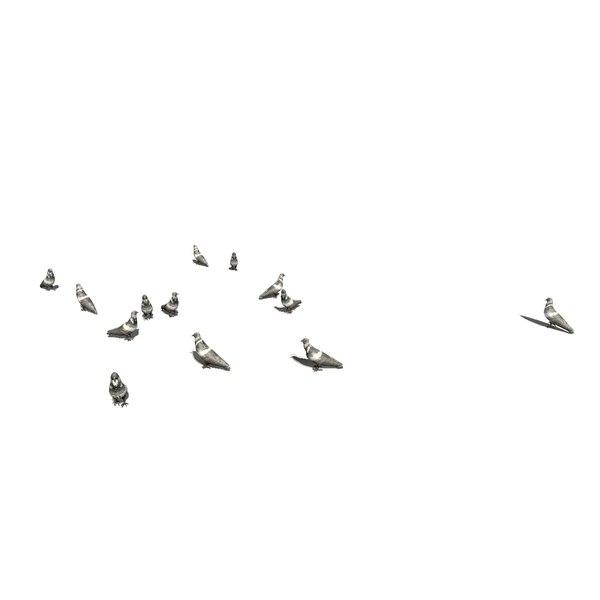 3D group pigeons eating walking animation model