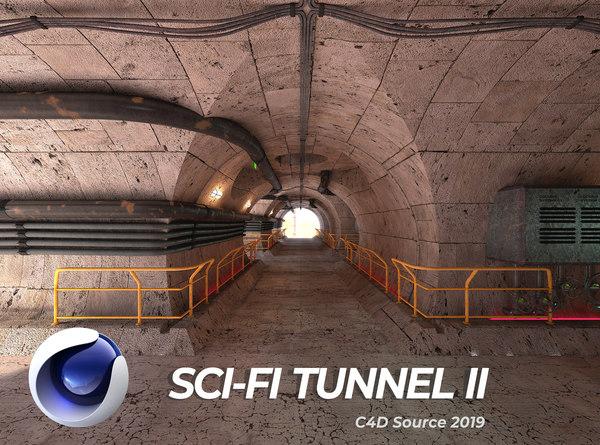 sci-fi tunnel scene 3D