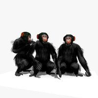 group chimpanzee animation chimp 3D model