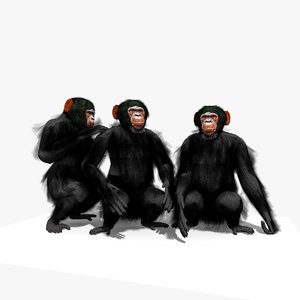 group chimpanzee animation chimp 3D model