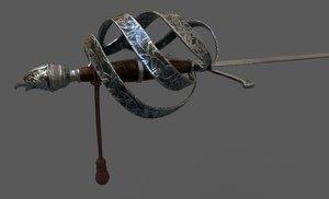 3D celtic rapier