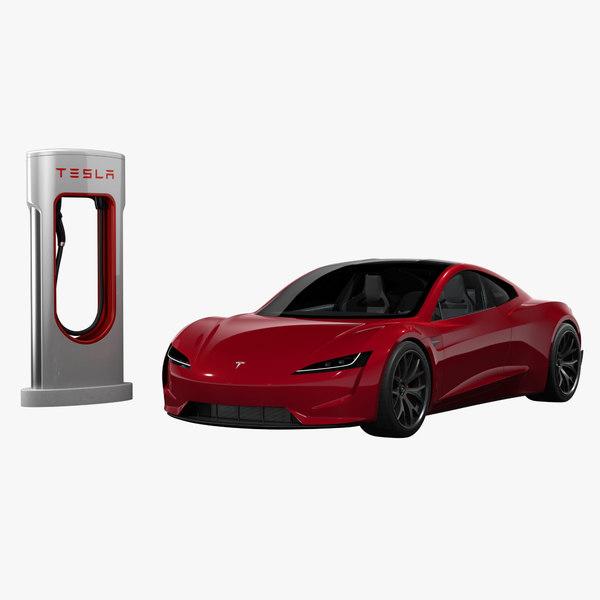 3D tesla roadster charger 2020 model