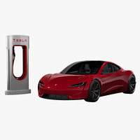 3D tesla roadster charger 2020 model