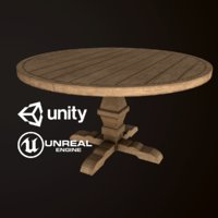 Wood Round Dining Table - PBR Game Ready