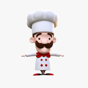 funny cartoon cook 3D model