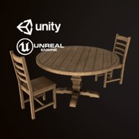 Wood Round Dining Table Chair Set - PBR Game Ready