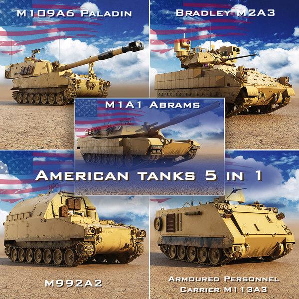 3D american tanks usa