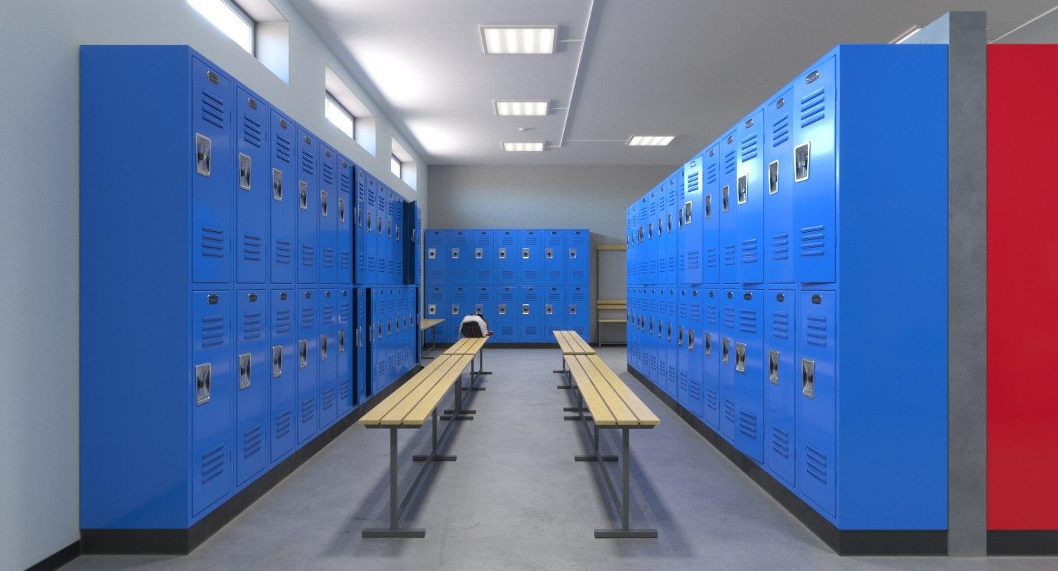realistic locker room 3D model