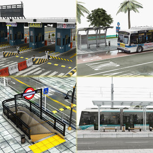 element bus stop subway 3D model