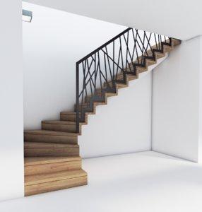 3D wooden zeta stairs