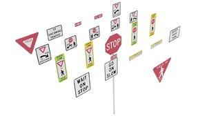 3D road sign r1 series model