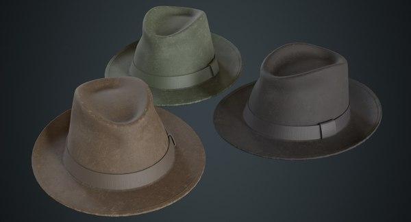 3D fedora hat 1b model