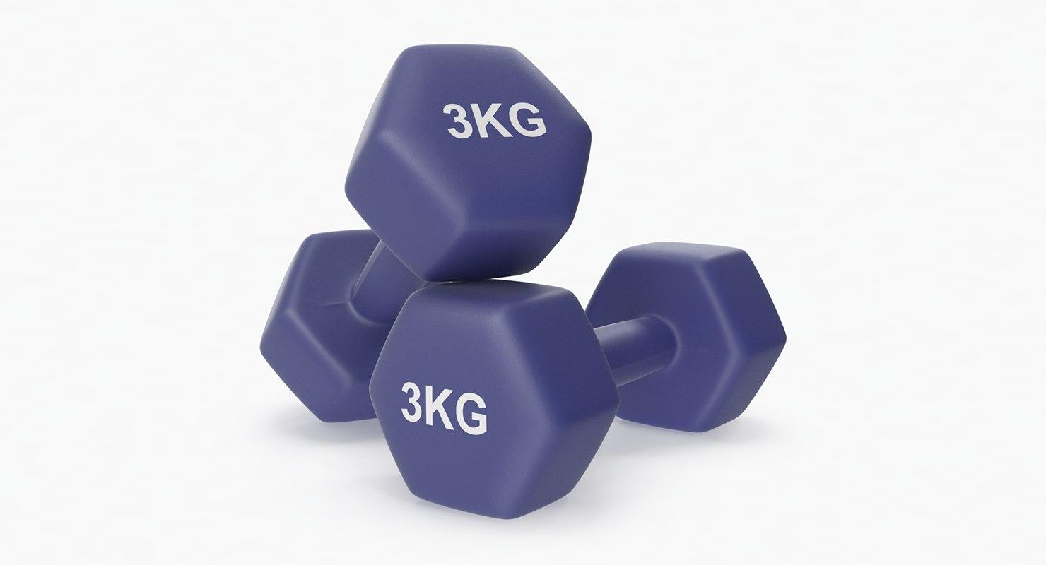 plastic fitness dumbbells 3kg 3D model