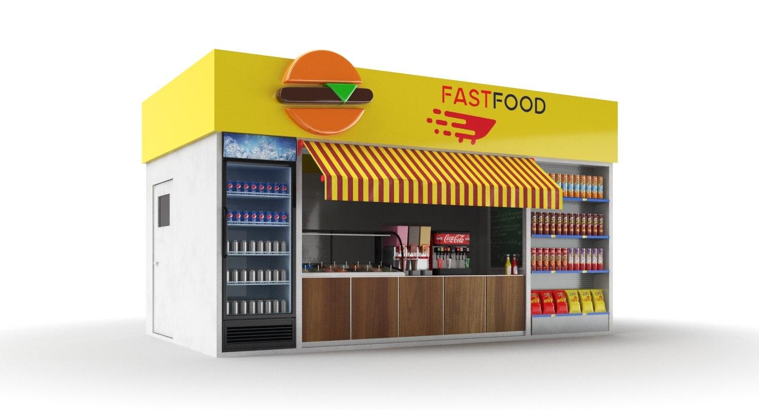 3D model food kiosk