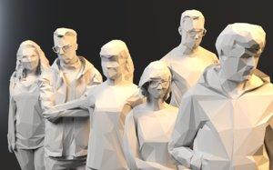 polygonal rigged pose 3D model