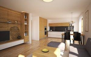 3D kitchen living room model