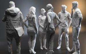 3D polygonal character studio biped model