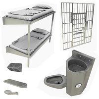 prison cell toilet sink 3D model