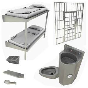 prison cell toilet sink 3D model