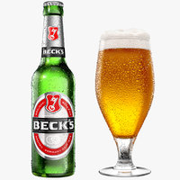 modeled beer bottle glass 3D model