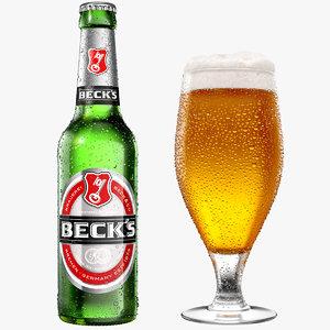 modeled beer bottle glass 3D model