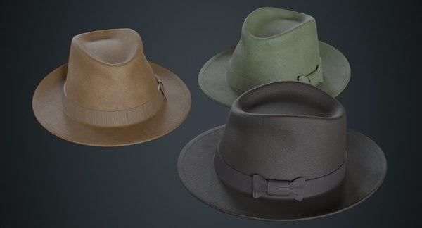 3D model fedora hat 2a