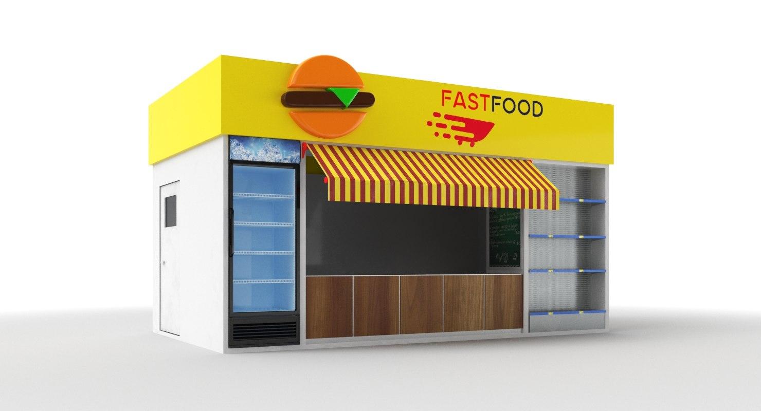 3D food kiosk model