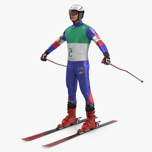 3D model downhill male skier skiing