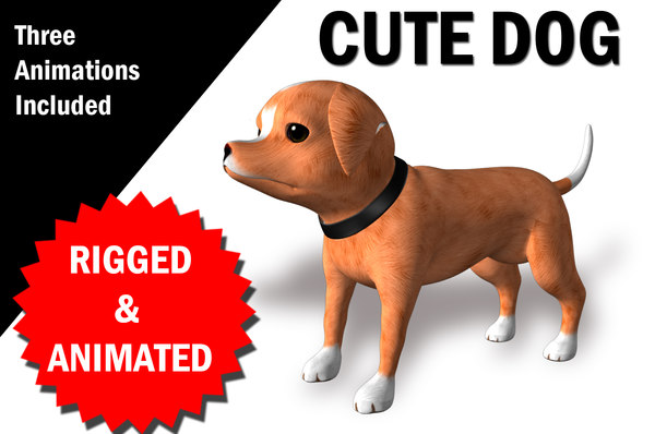 rigged dog character animations 3D model