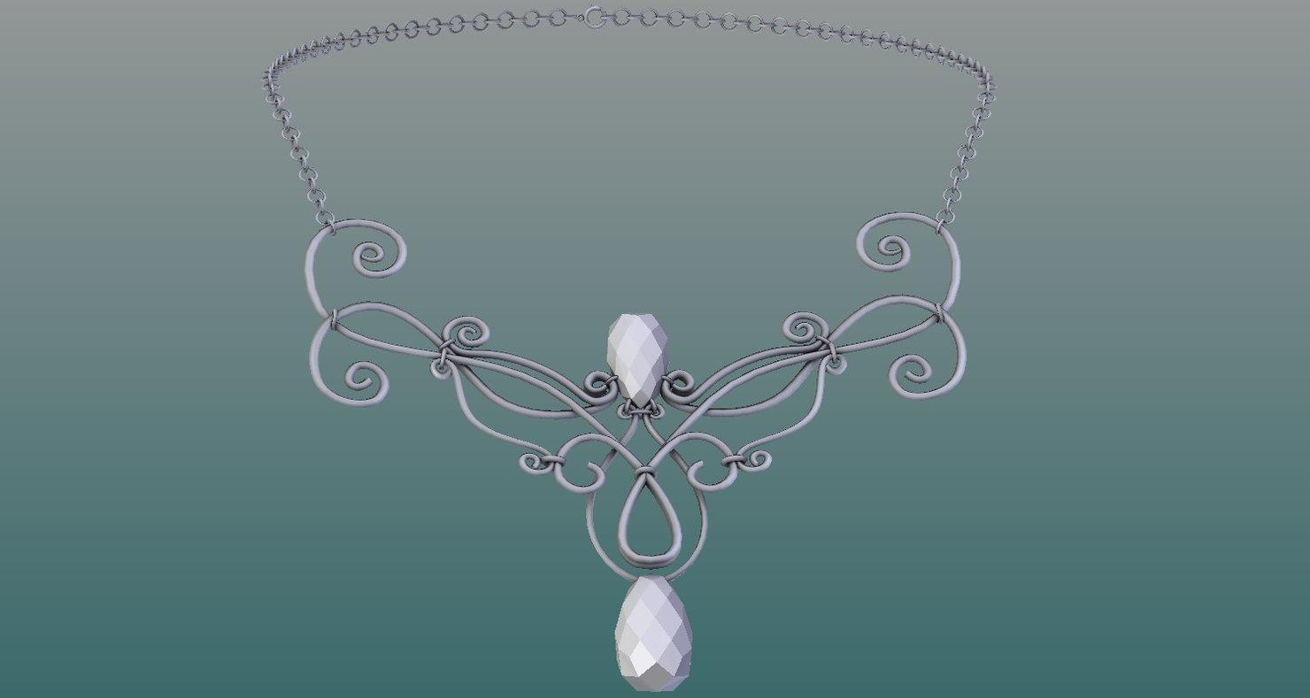women necklace 3D model