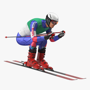 3D downhill male skier skiing